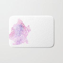 Typographic Brooklyn - Pink Watercolor map art Bath Mat