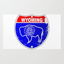 Wyoming Flag Icons As Interstate Sign Rug