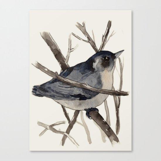 Grey Birdy 2 Canvas Print