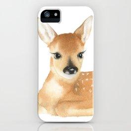 Baby Deer Watercolor iPhone Case