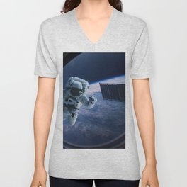 Astronaut in outer space through the porthole Unisex V-Neck