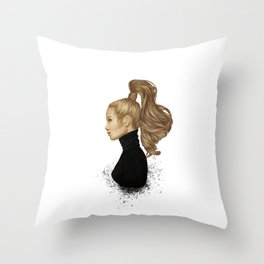 Hair Majesty - Stylish girl illustration Throw Pillow
