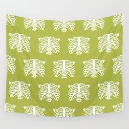 Human Rib Cage Pattern Chartreuse Green Wall Tapestry