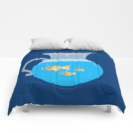 Three Goldfishes In a Water Pitcher Comforters