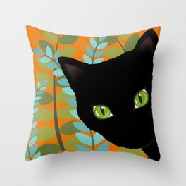 Black Kitty Cat In The Garden Throw Pillow