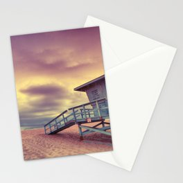 Lifeguard tower at sunset at Hermosa Beach, California Stationery Cards