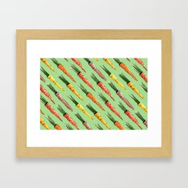Happy colorful carrots pattern Framed Art Print