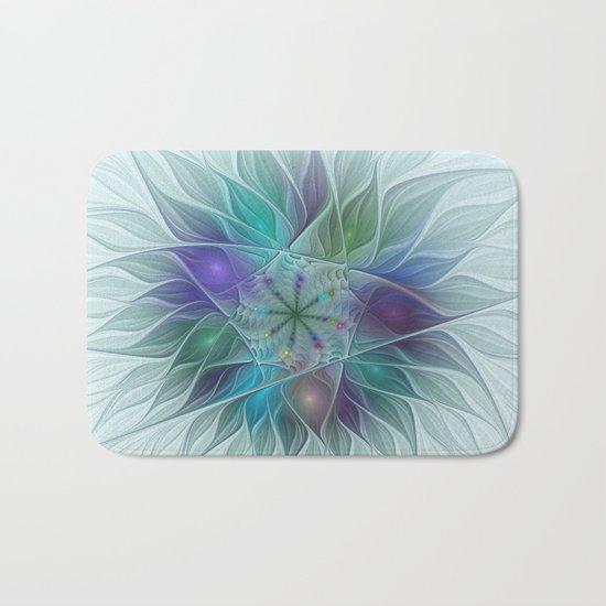 Colorful Fantasy Flower Fractal Art Abstract Bath Mat
