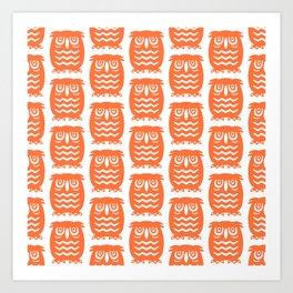 Mid Century Owl Pattern Orange Art Print