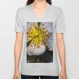 White Blossom Unisex V-Neck