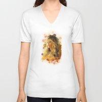jennifer lawrence V-neck T-shirts featuring Jennifer Lawrence II by Rene Alberto