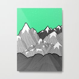 Green Sky Mounts Metal Print