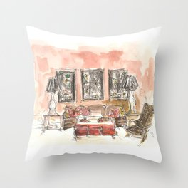 Vintage 90s Living Room Painting Throw Pillow