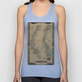 Map of Mississippi River 1858 Unisex Tank Top