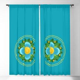 Aqua Blue Green and Gold Flower Fileteado Filete Porteño Buenos Aires Inspired Blackout Curtain