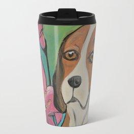 """Alyvia"" Beagle Lily Painting Travel Mug"