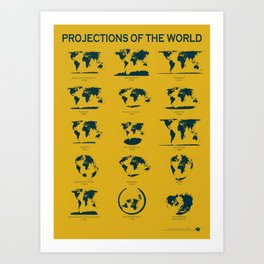 Projections of the World Poster (yellow) Art Print