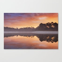 Reflections of sunrise at a quiet lake, Henschotermeer, The Netherlands Canvas Print