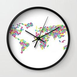 Tetris world (white one) Wall Clock