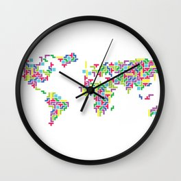 Tetris world (white one) Wall Clock