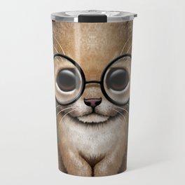 Cute Baby Lion Cub Wearing Glasses on Blue Travel Mug