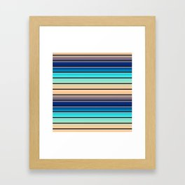 Beach Stripe 5, Variegated and Black and White Stripes Framed Art Print
