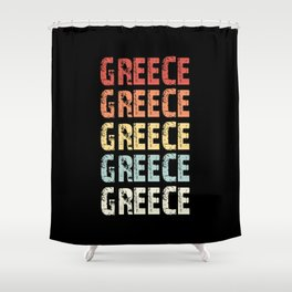 Retro Greece Love Gift Shower Curtain