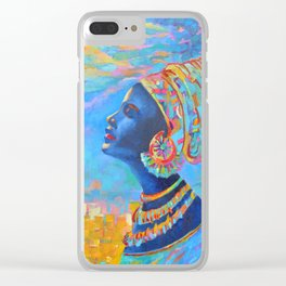 Black Woman Painting Africa People Girl in Wrap Color Beautiful Portrait Clear iPhone Case