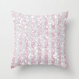 Elegant pink white faux glitter stripes pattern  Throw Pillow