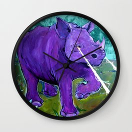 The Hills Are Alive with Laser Rhino - Mountain Rhinoceros and Edelweiss original art Wall Clock