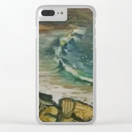 wavy beach in stormy day Clear iPhone Case