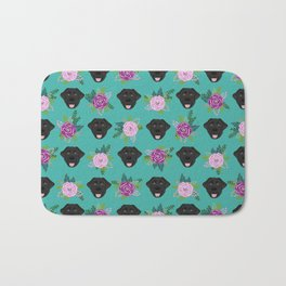 Black lab florals labrador retriever dog breed pet friendly pattern flowers bouquet Bath Mat
