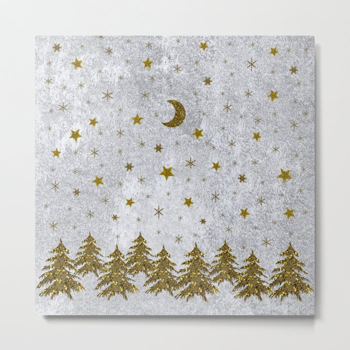 Sparkly Christmas tree, stars, moons on abstract paper Metal Print