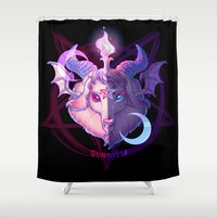 baphomet Shower Curtains featuring Baphomet (MIXED) by Gunkiss