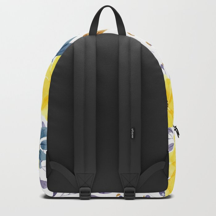 Yellow watercolor flowers Backpack