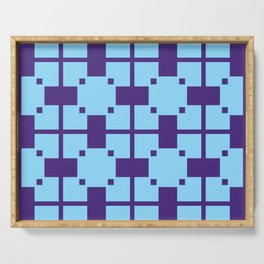 Simple geometric pattern dark blue and light blue colors Serving Tray