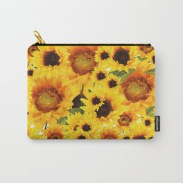 Wild yellow Sunflower Field Illustration Carry-All Pouch