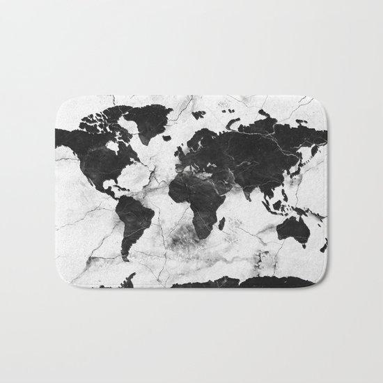 world map marble 3 Bath Mat