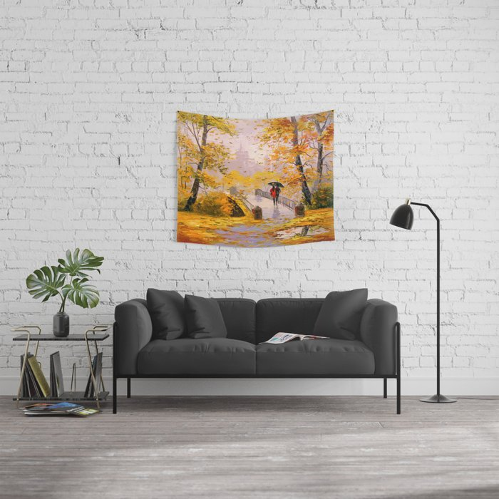 Walk in autumn after rain Wall Tapestry