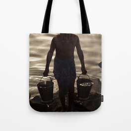 Collecting Water from the Ganges Tote Bag