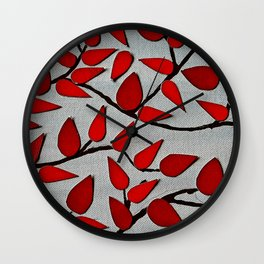 Red Autumn Leaves over Dark Skies Wall Clock