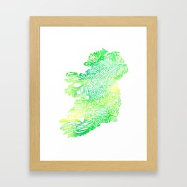 Typographic Ireland - Green Watercolor map Framed Art Print