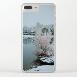 Canoe on a snowy lake in Colorado Clear iPhone Case