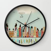 indiana Wall Clocks featuring visit Indianapolis Indiana by bri.buckley