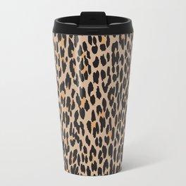 Animal Print, Spotted Leopard - Brown Black Travel Mug
