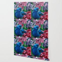 Indigo Bunting Colored Pencil Bird Artwork Drawing Wallpaper