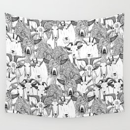 just goats black white Wall Tapestry