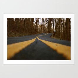 Double Yellow Lines Art Print