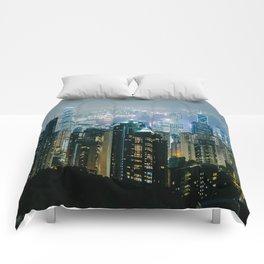 Hong Kong Night Panorama Comforters