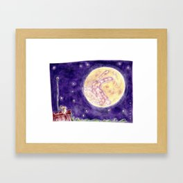 The Rabbit and The Moon/Le Lapin et La Lune Framed Art Print